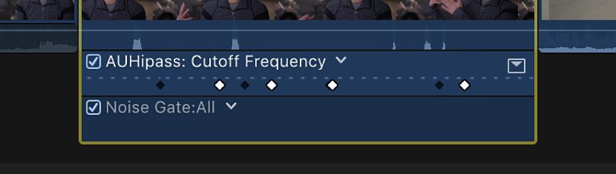 显示活跃和不活跃关键帧的音频动画编辑器