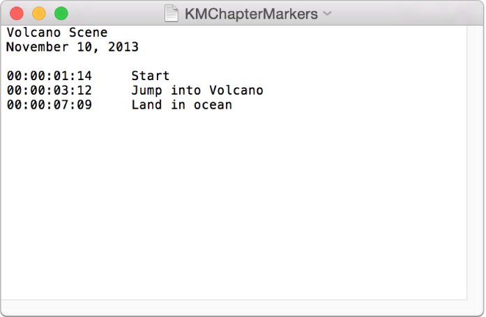 Textfenster mit einer Liste von Kapitelmarkern