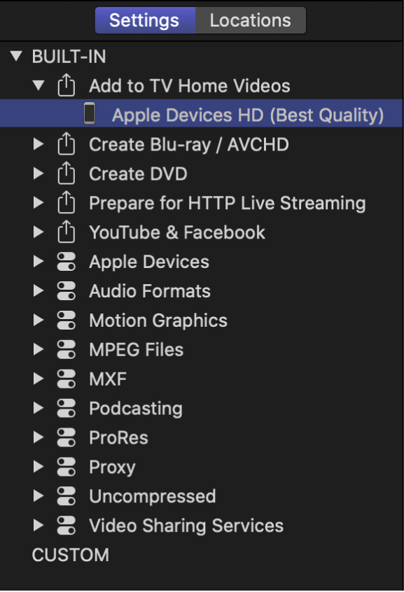 Settings pane with setting selected