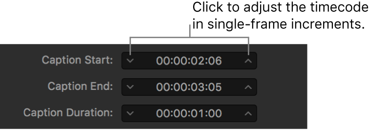 Caption timing fields showing timecode and frame advancement arrows