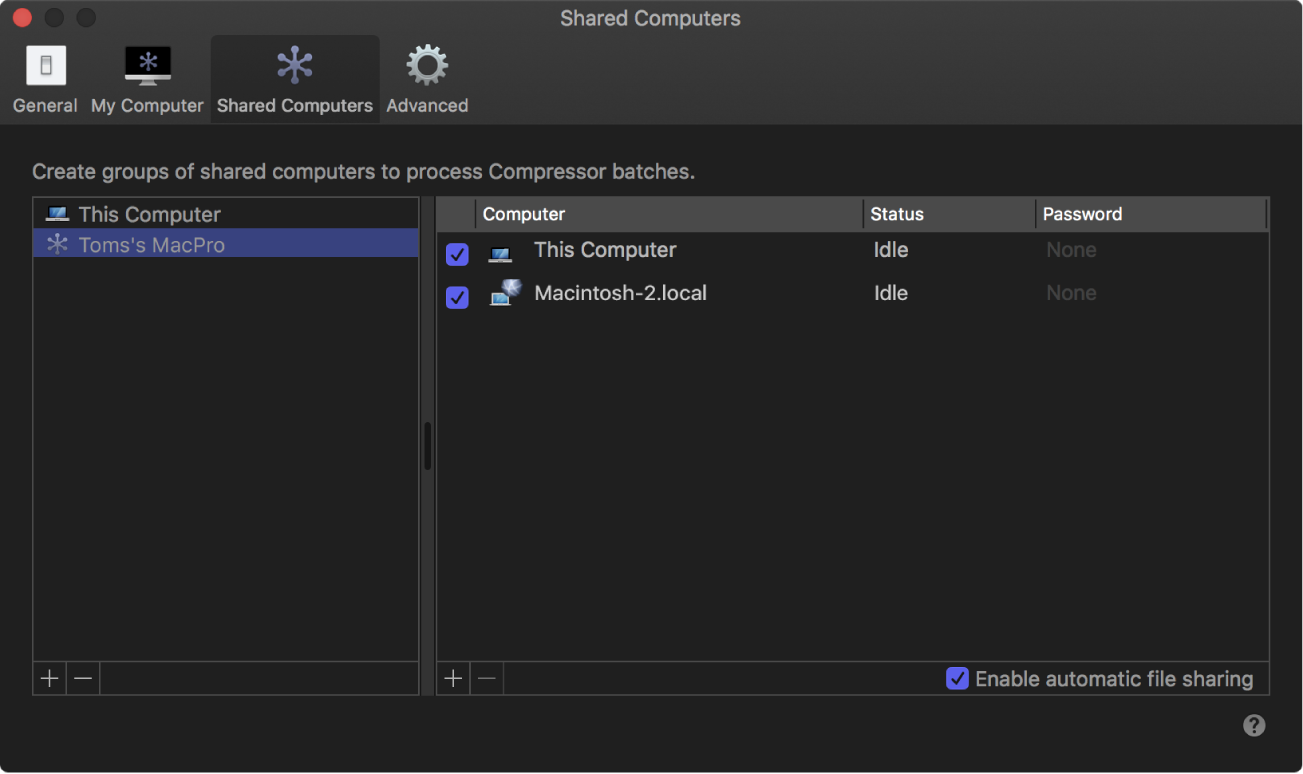 Shared Computers preferences pane