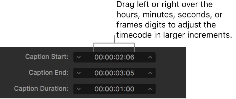 Caption timing fields showing timecode and hours, minutes, seconds, and frame drag fields