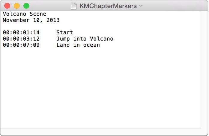 Ventana de texto donde se muestra una lista de marcadores de capítulo