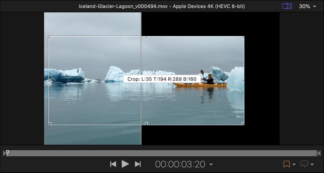 Área de vista previa y proceso de recorte manual de una imagen
