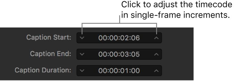 Campos de temporización de subtítulos que muestran el código de tiempo y las flechas de desplazamiento por fotogramas