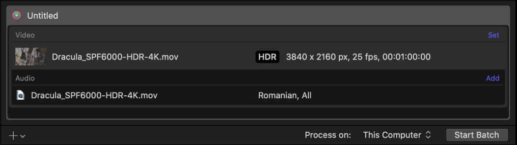 显示 HDR 视频输出行的批处理区域。
