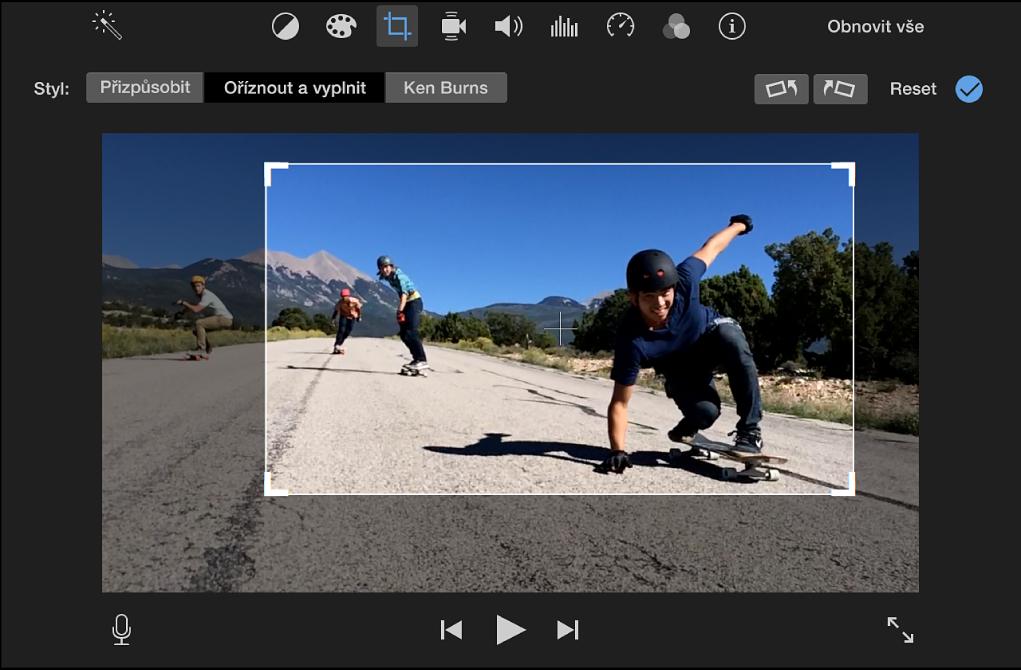 Prohlížeč se zobrazením nastavitelného rámečku nad klipem