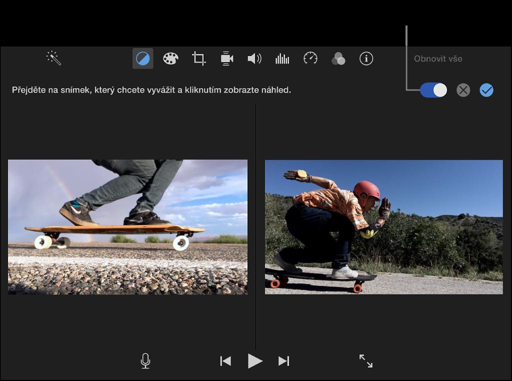Prohlížeč se zobrazením klipu vpravo aukázky odpovídající zdrojovému klipu vlevo