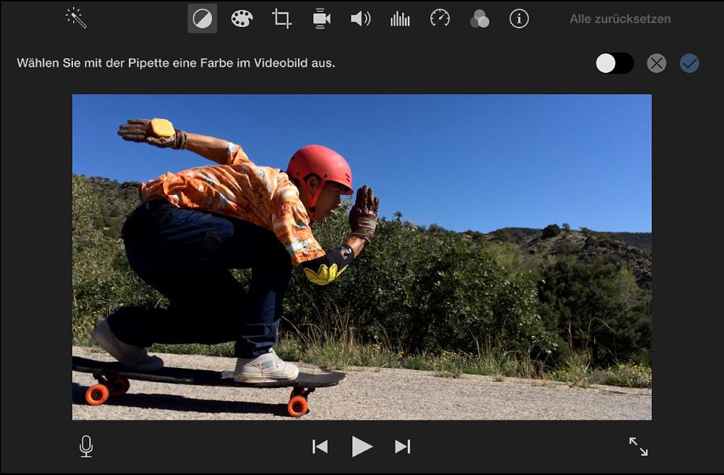 Viewer mit Clip und Anleitungen zum Auswählen von Farben im Clip mithilfe des Pipettenwerkzeugs