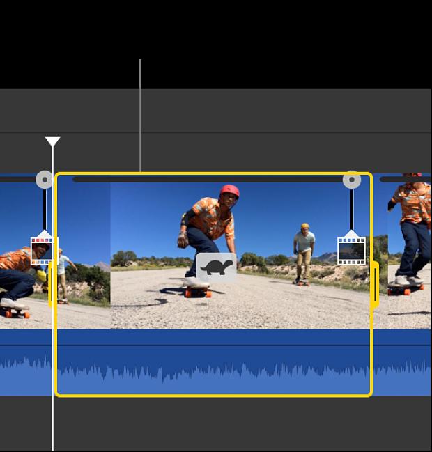Clip mit einem geänderten Tempo in einem ausgewählten Bereich