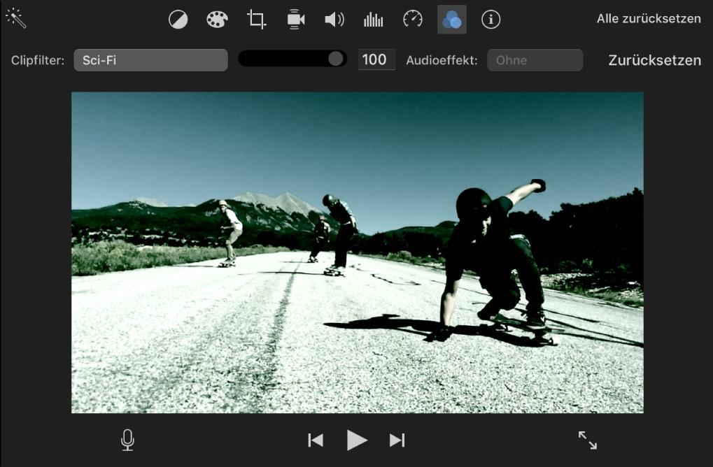 Auf einen Clip im Viewer angewendeter Sci-Fi-Videoeffekt