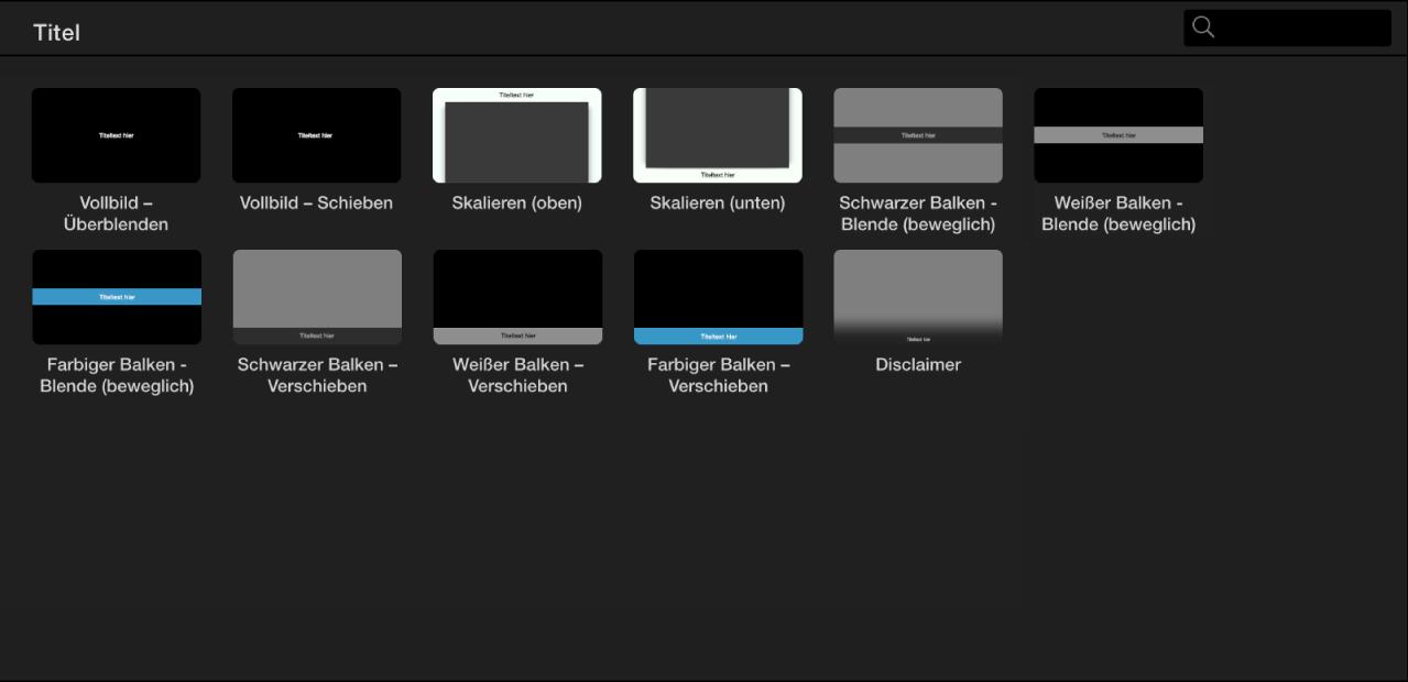 Übersicht mit den für eine App-Vorschau verfügbaren Titelstilen
