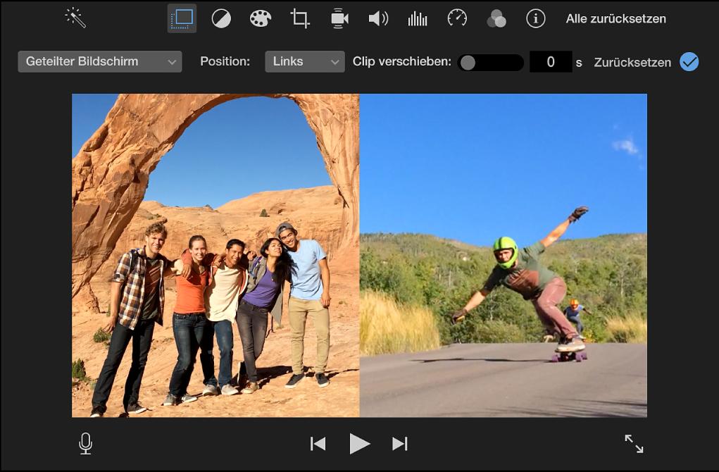 Viewer mit den nebeneinander angezeigten, beschnittenen Versionen von Clips und den Steuerungen darüber