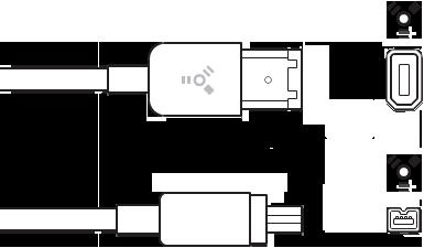 4-poliger und 6-poliger Stecker des FireWire-Kabels