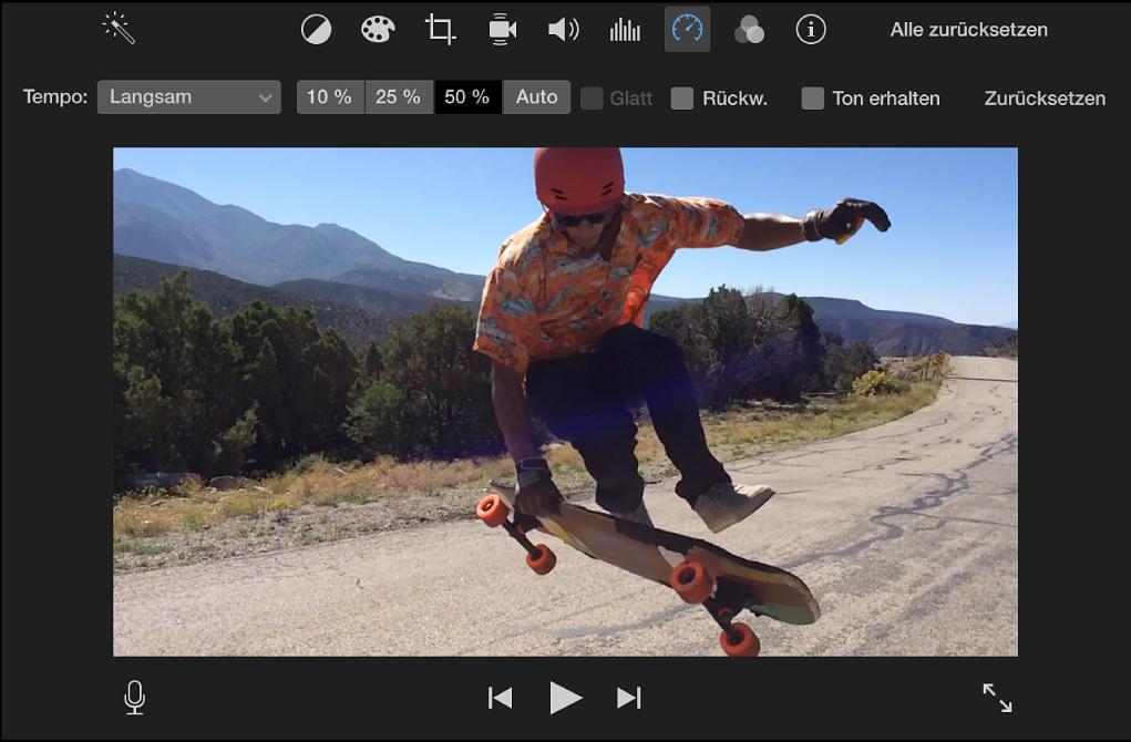Steuerungen für das Tempo über einem Clip im Viewer