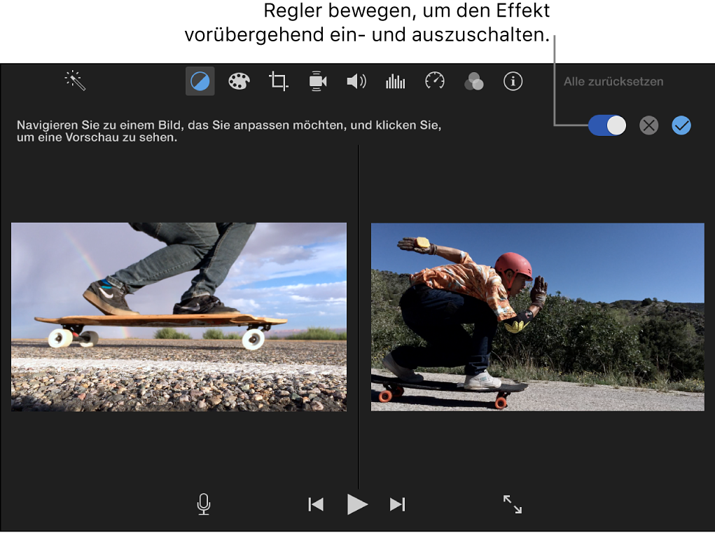 Viewer mit Clip rechts und der Vorschau des durchsuchten Clips links