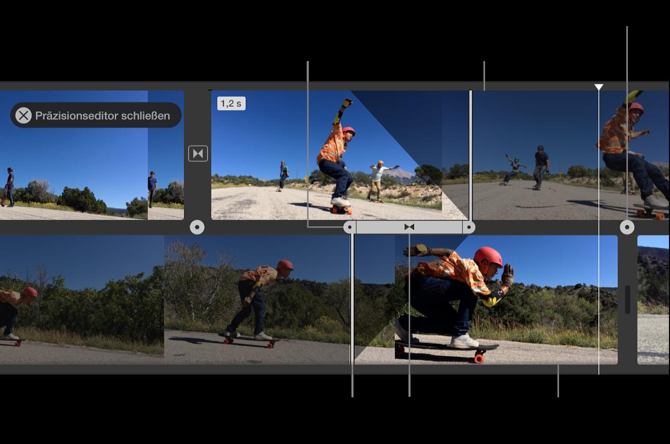 In der Timeline geöffneter Präzisionseditor mit Ausgangsclip, Eingangsclip, Übergang zwischen den Clips und Steuerungen zum Anpassen des Start- und des Endzeitpunkts des Video- und Audiomaterials des jeweiligen Clips