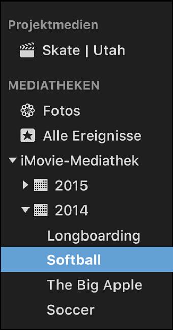 """Liste """"Mediatheken"""" mit sortierten und nach Jahr gruppierten Ereignissen"""