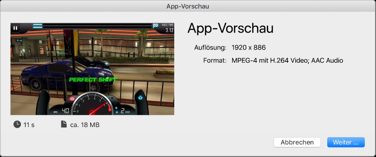 Dialogfenster zum Teilen einer App-Vorschau