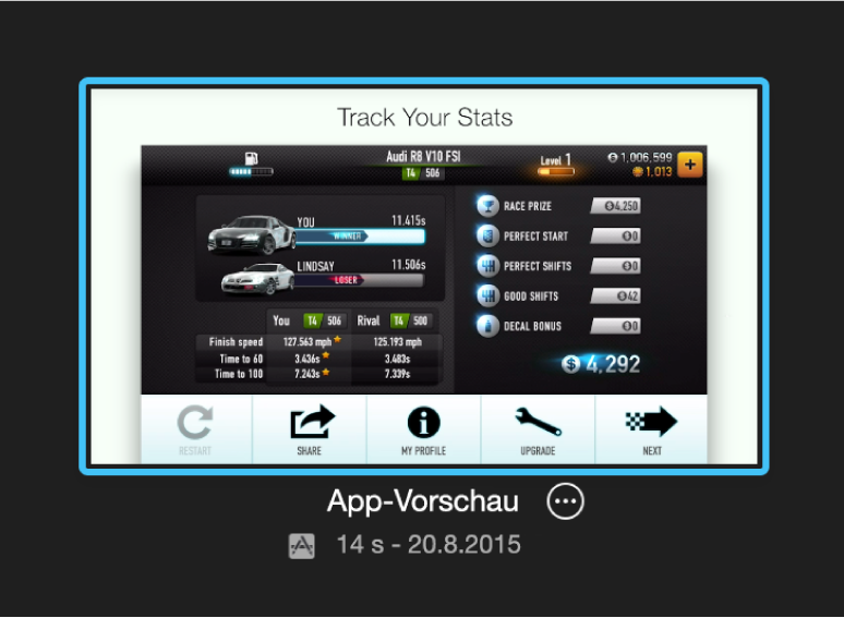 """App-Vorschauprojekt in der Darstellung """"Projekte"""""""