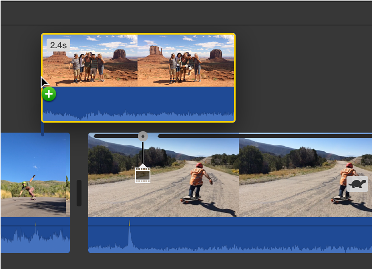 Timeline showing clip being dragged above another clip to connect it