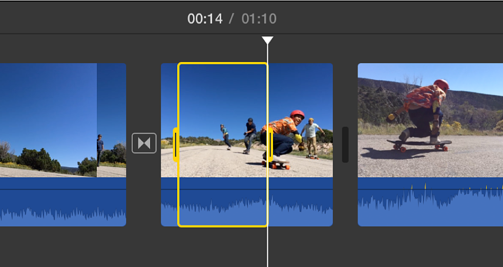 Yellow border around selected range in clip in timeline