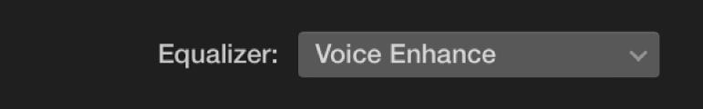 Equalizer pop-up menu