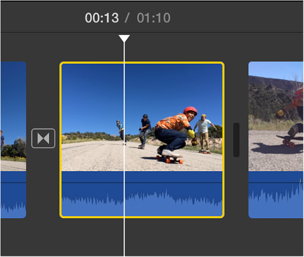 Selected clip in timeline with yellow border and playhead positioned over clip