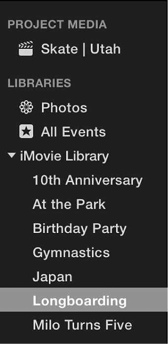 Event selected in Libraries list