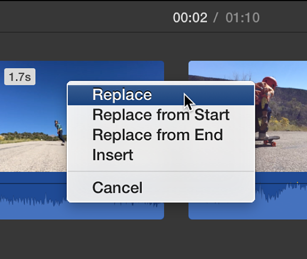 Menu in timeline showing clip replacement options