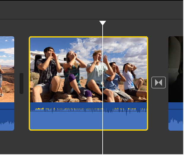 Selected video clip with audio in timeline
