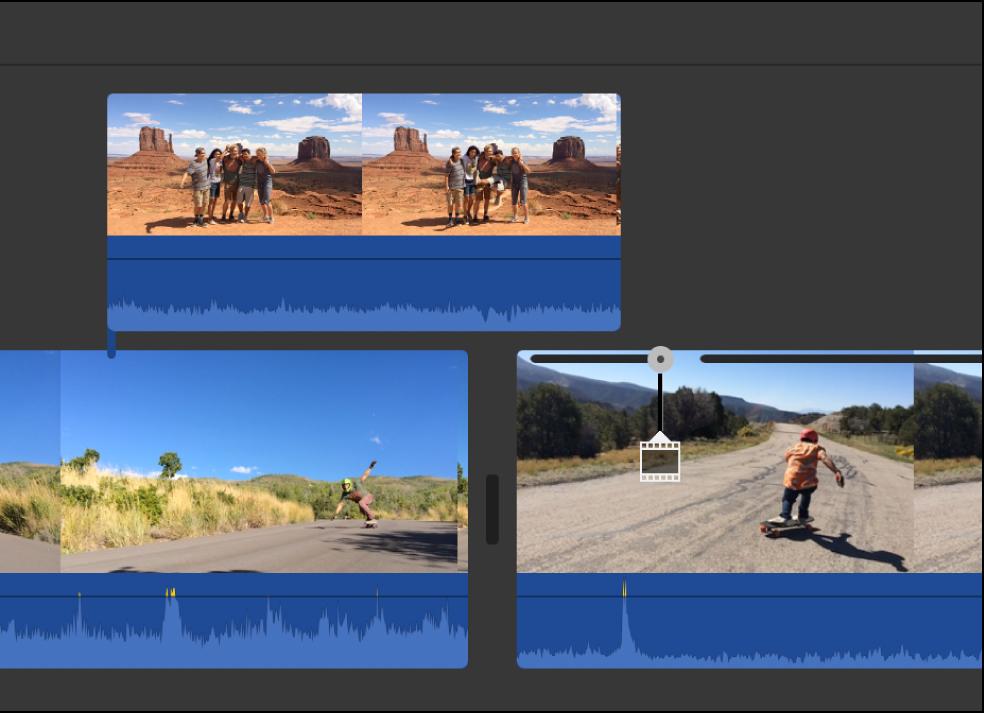 Cutaway clip in timeline