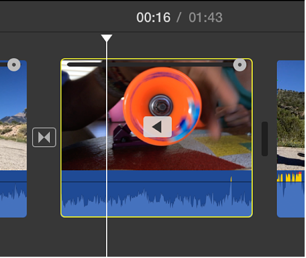 Reverse-play icon on clip in timeline