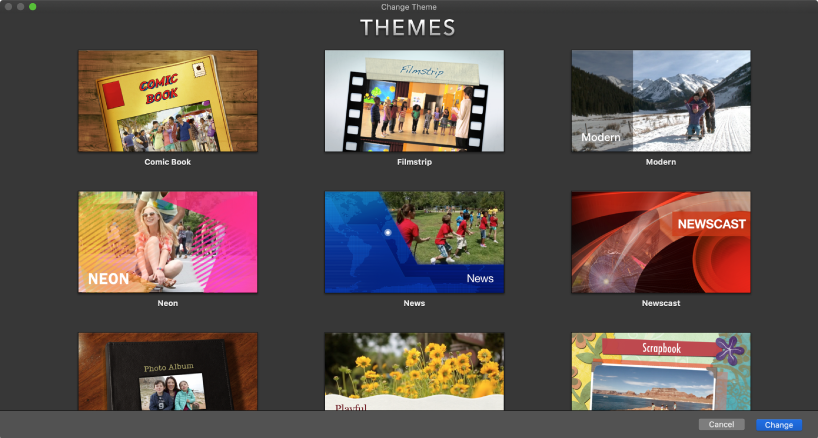 Change Theme window showing thumbnails of movie themes