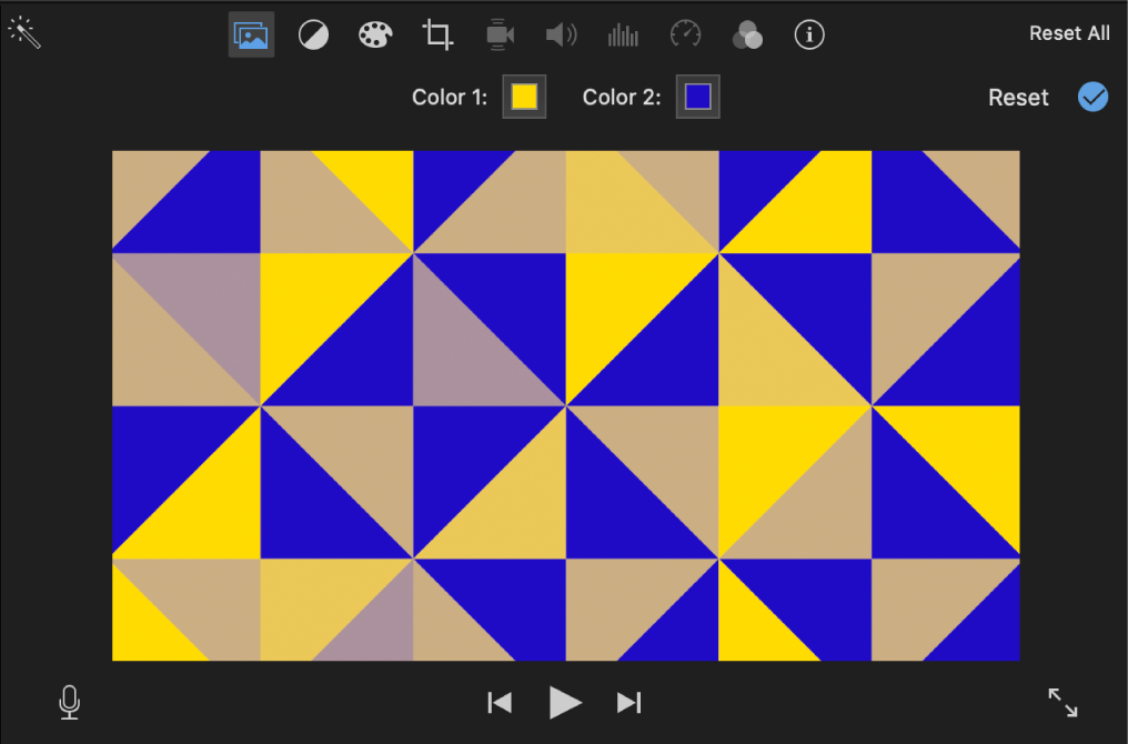 Pattern background in viewer, with two color wells appearing above viewer