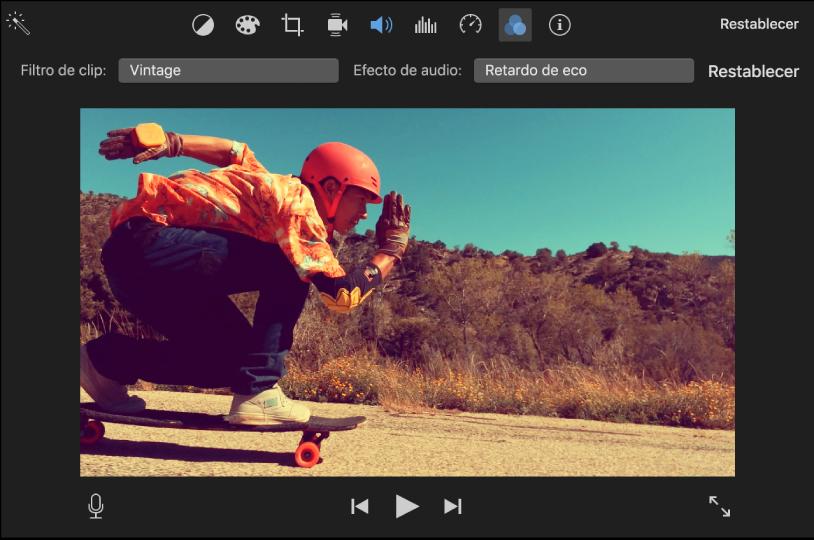 """Visor mostrando un clip con un filtro aplicado; los controles """"Filtro de clip"""" aparecen arriba del visor"""