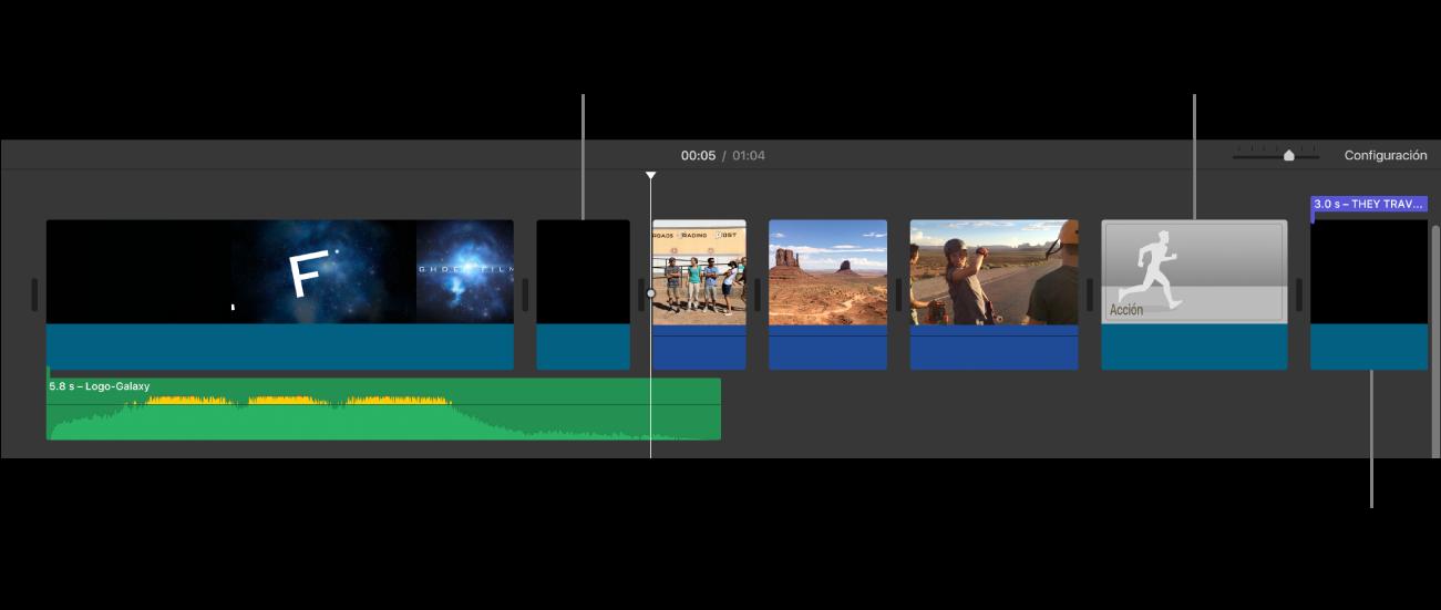 Línea de tiempo donde se muestra un tráiler convertido en película con clips negros que representan la secuencia inicial del logotipo del estudio, clips negros con barras de color violeta que representan las secuencias de títulos del tráiler e imágenes en escala de grises que representan clips de marcador de posición