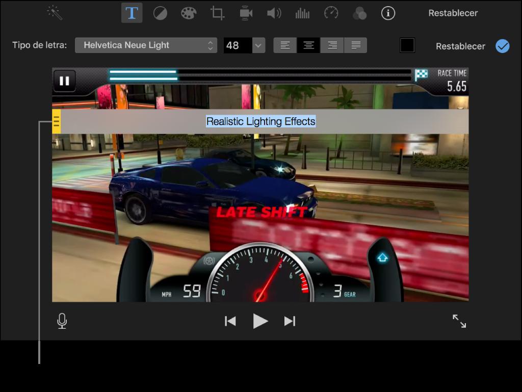 Clip en el visor con un título que aparece en una barra desplazable