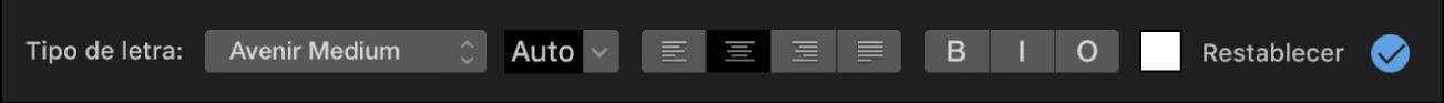 Controles del título encima del visor
