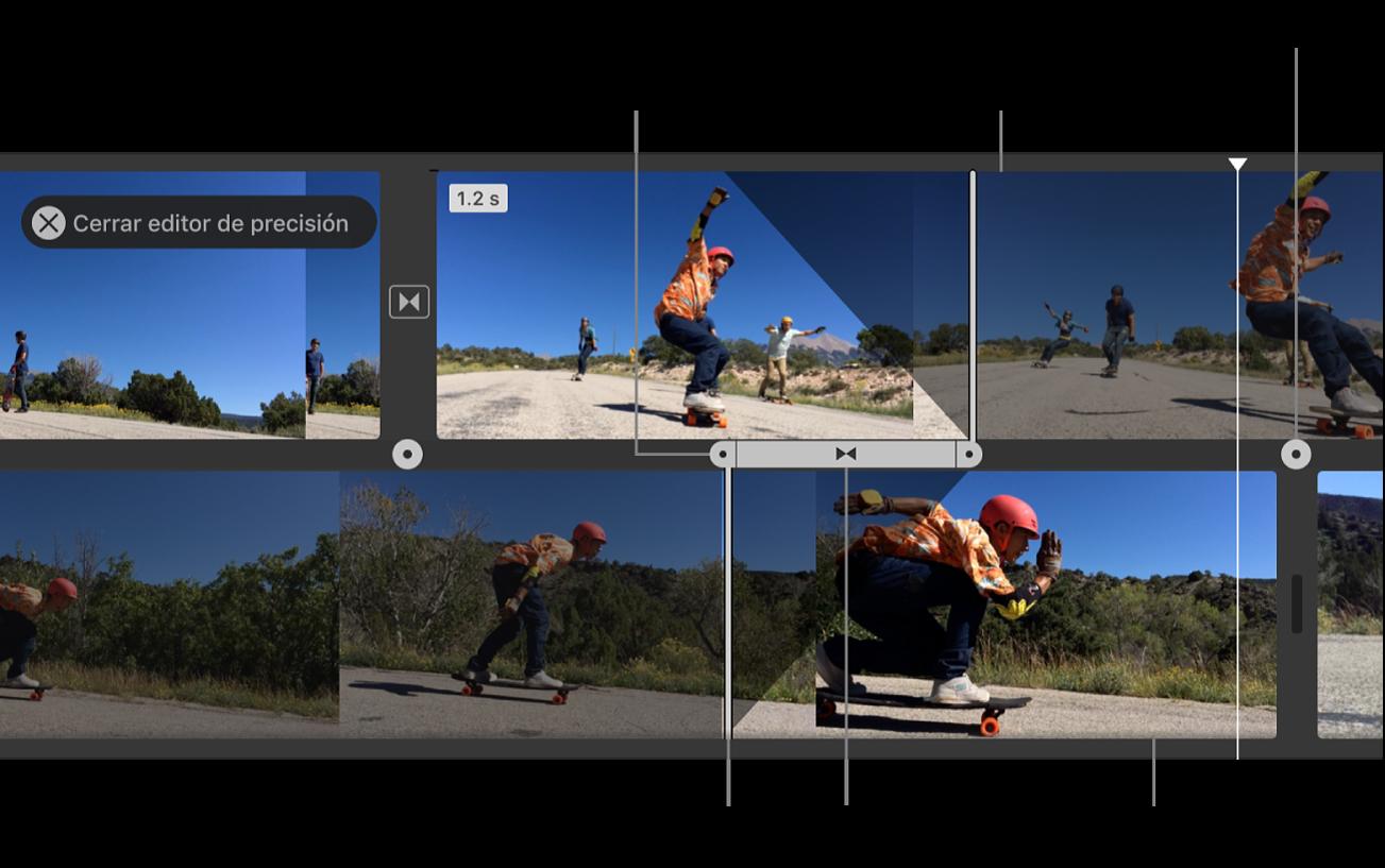 Editor de precisión abierto en la línea de tiempo, con el clip de salida, el clip de entrada, la transición entre los clips y los controles para ajustar el punto de inicio y fin del audio y del video de cada clip