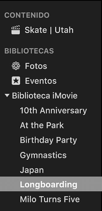 Evento seleccionado en la lista Bibliotecas