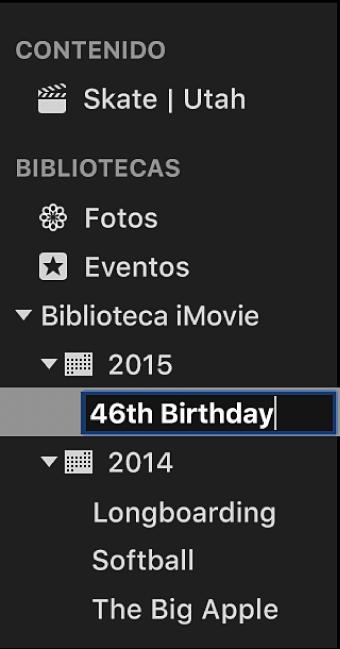 Evento al que se está cambiando de nombre en la lista Bibliotecas