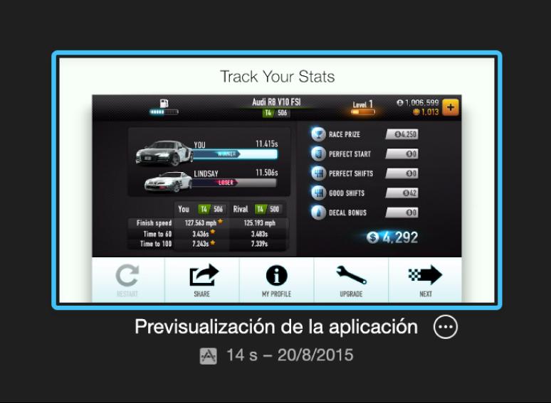 Proyecto de previsualización de app en la visualización Proyectos