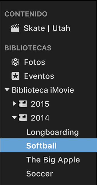Lista Bibliotecas con los eventos ordenados y agrupados por año
