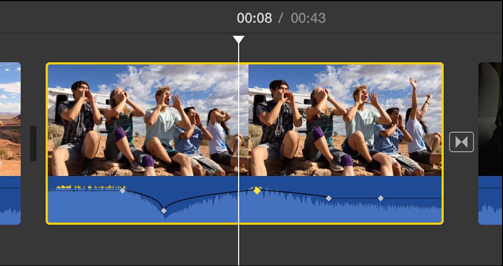 Fotogramas de referencia de audio en la parte de audio de un clip en la línea de tiempo