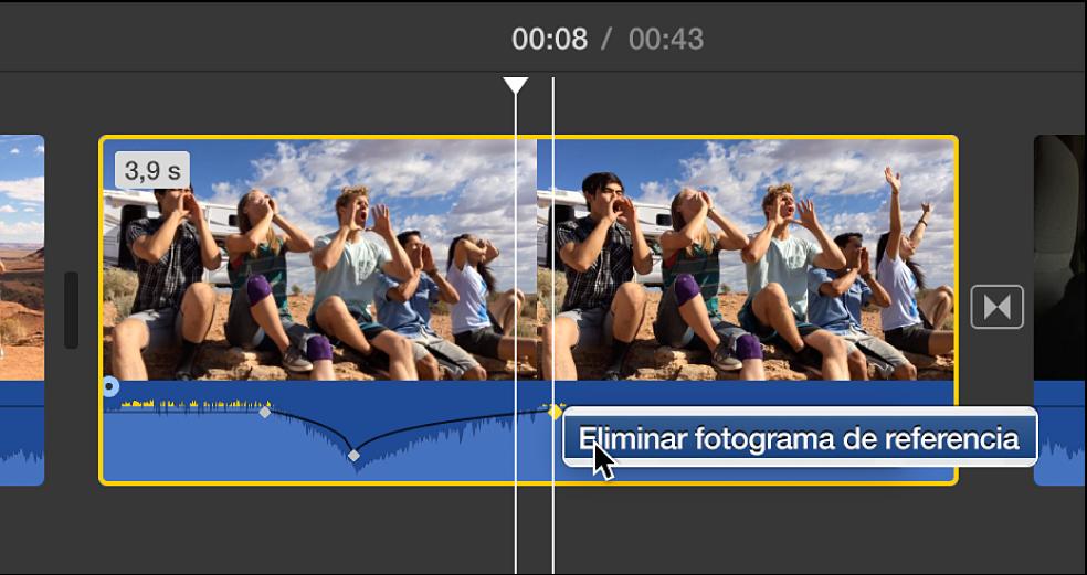 Se está eliminado un fotograma de referencia de audio en la línea de tiempo