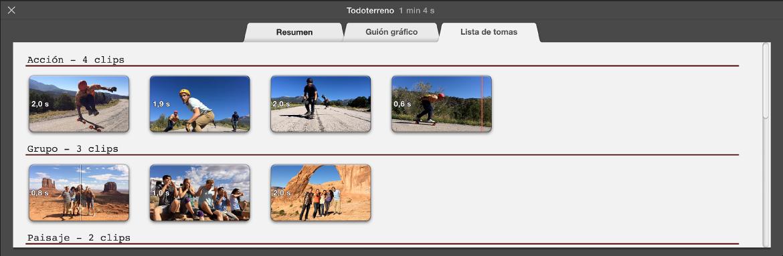 """Panel """"Lista de tomas"""" del tráiler"""