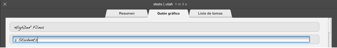 """Se está introduciendo texto en el panel """"Guion gráfico"""" del tráiler"""