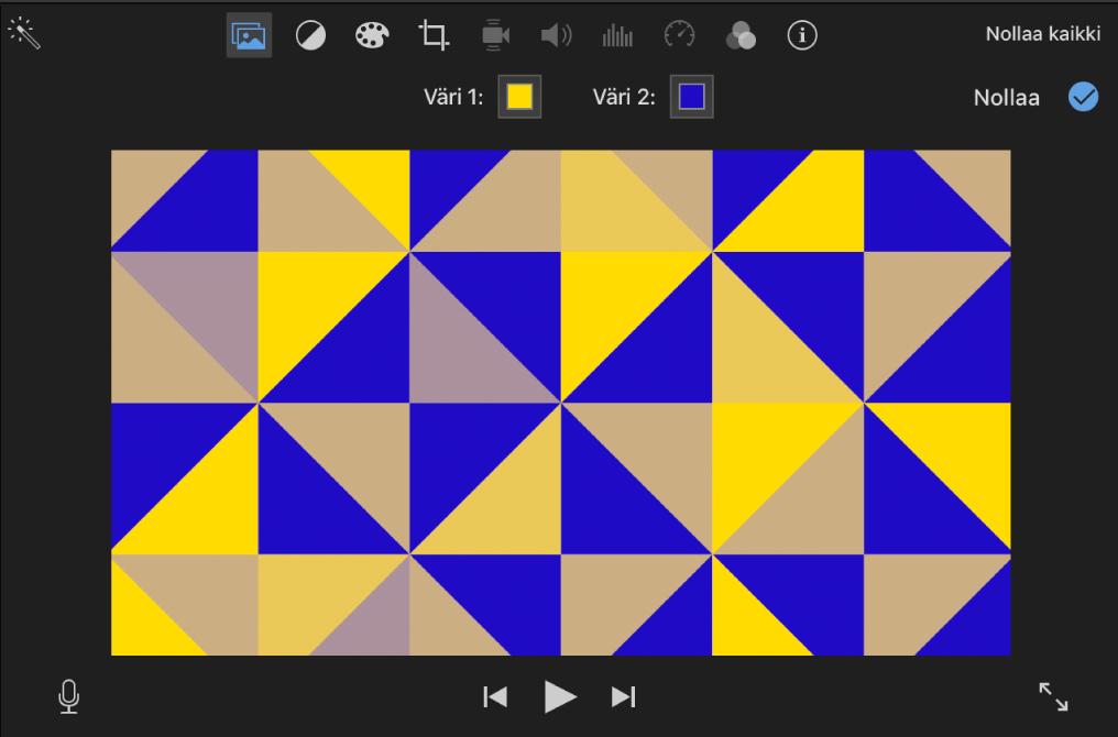 Kuviollinen tausta katseluikkunassa ja kaksi värivalitsinta katseluikkunan yläpuolella