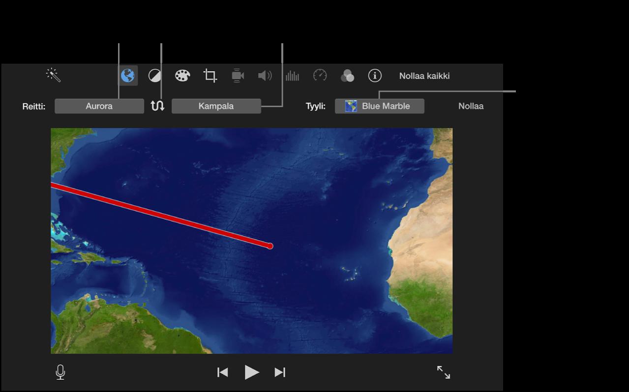 Animoidun matkakartan säätimet katseluikkunan yläpuolella alku- ja loppusijainnin asettamiseen, reitin suunnan vaihtamiseen ja kartan tyylin valitsemiseen